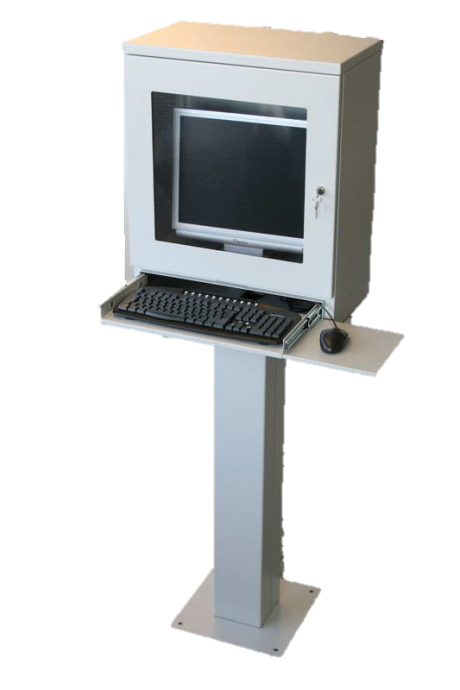 left facing pedestal computer enclosure with keyboard and mouse shelf