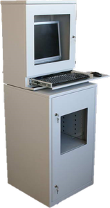 steel workstation enclosure including printer cabinet, monitor enclosure an